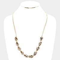 Multi Gold Shell Cord Braided Long Necklace
