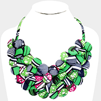 Fabric Covered Button Cluster Collar Statement Necklace