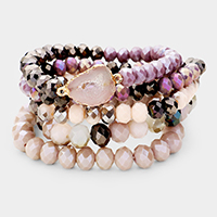 5PCS - Semi Precious Druzy Bead Stretch Bracelet