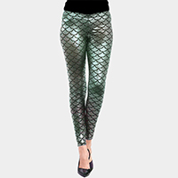 Metallic Mermaid Pattern Leggings