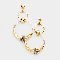 Crystal Embellished Ball Double Round Link Earrings