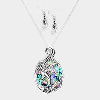 Abalone Mermaid Wave Oval Pendant Necklace