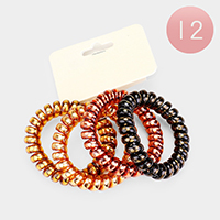 12 SETS OF 4 - Multi Telephone Cord Hair Ties