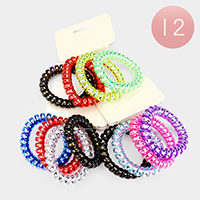 12 SETS OF 4 - Holographic Telephone Cord Coiled Hair Ties