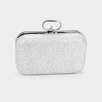 Shimmery Crystal Pave Clasp Evening Clutch Bag