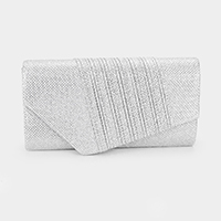 Diagonal Pleated Glitter Evening Clutch Bag