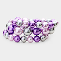 3PCS - Stackable Pearl Stretch Bracelets
