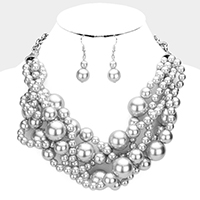 Twisted Multi-Strand Pearl Necklace