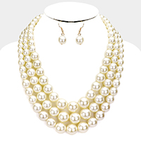 3Row Multi Strand Graduated Pearl Necklace