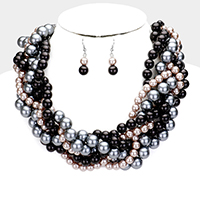 Braided Multi-Strand Pearl Necklace