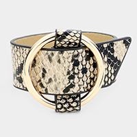 Hoop Buckle Snake Leather Bracelet