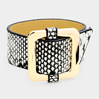 Square Hoop Buckle Snake Leather Bracelet