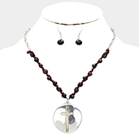 Hammered Metal Cross Pendant Braided Onyx Necklace