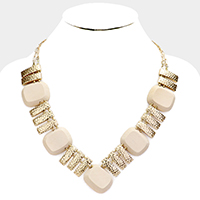 Hammered Bar Wood Bead Collar Statement Necklace