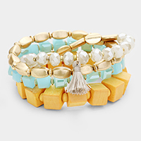 4PCS - Wood Cube Bead Tassel Stretch Bracelets