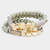 3PCS - Semi Precious Rectangular Stone Stretch Bracelets