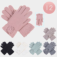 12PAIRS - Super Soft Double Layer Fur Lining Floral Gloves