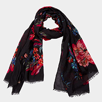 Floral Printed Light Weight Short Fringed Oblong Scarf