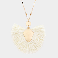 Fan Tassel Metal Disc Pendant Long Necklace