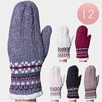 12PAIRS - Cable Knit Gloves With Geo Trim