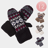 12PCS - Ladies Classic Cable Knitted Fleeced Mitten Gloves