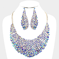 Crystal Glass Rhinestone Evening Necklace