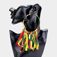 Oversized Fabric Wrapped Hoop Tassel Statement Earrings