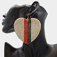 Oversized Crystal Rhinestone Pave Color Block Heart Earrings