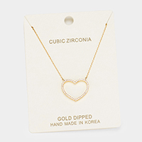 Gold Dipped Cubic Zirconia Heart Pendant Necklace