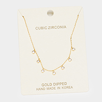 Gold Dipped Cubic Zirconia Station Pendant Necklace