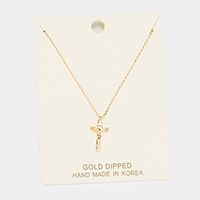 Gold Dipped Cross Jesus Pendant Necklace