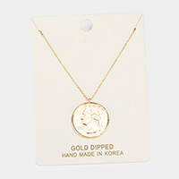 Gold Dipped Quarter Coin Pendant Necklace