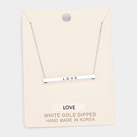 'Love' Horizontal Metal Bar Pendant Necklace