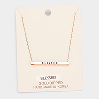'Blessed' Horizontal Metal Bar Pendant Necklace