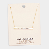 'Live Laugh Love' Horizontal Metal Bar Pendant Necklace