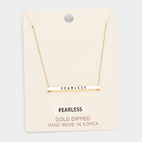 'Fearless' Horizontal Metal Bar Pendant Necklace