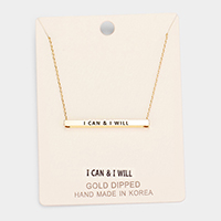 'I CAN & I WILL' Horizontal Metal Bar Pendant Necklace