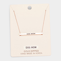 'Dog Mom' Horizontal Metal Bar Pendant Necklace