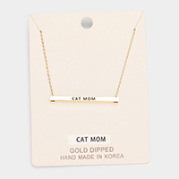 'Cat Mom' Horizontal Metal Bar Pendant Necklace