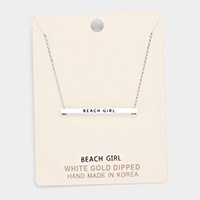 'Beach Girl' Horizontal Metal Bar Pendant Necklace