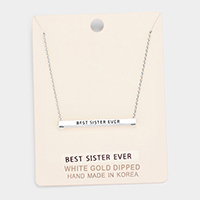 'Best Sister Ever' Horizontal Metal Bar Pendant Necklace