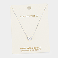 White Gold Dipped Cubic Zirconia Heart Pendant Necklace