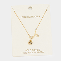Gold Dipped Cubic Zirconia Rose Pendant Necklace