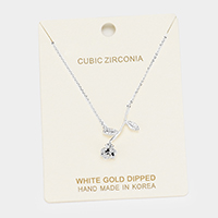 White Gold Dipped Cubic Zirconia Rose Pendant Necklace