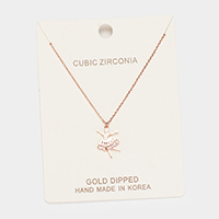 Gold Dipped Cubic Zirconia Ballerina Pendant Necklace
