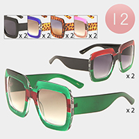 12PCS - Oversized Color Block Sunglasses