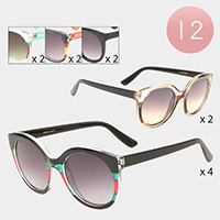 12PCS - Color Block Sunglasses