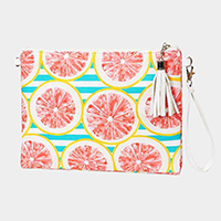Striped Grapefruit Cross Body / Clutch Bag