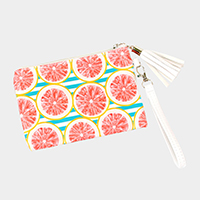 Striped Grapefruit Wallet / Clutch Bag