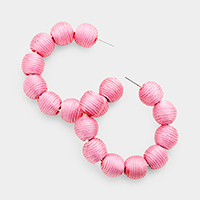 Multi Thread Ball Open Hoop Earrings